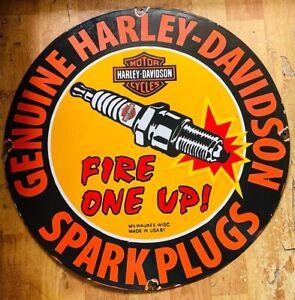 ORIGINAL ENAMEL PLATE GENUINE HARLEY DAVIDSON SPARK PLUGS VINTAGE PORCELAIN SIGN