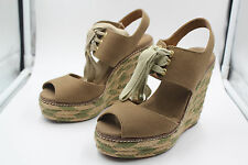 TORY BURCH SHOES 12128401 OLIVE 346 LINLEY HIGH WEDGE ESPADRILLE SIZE 5