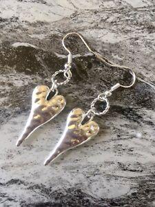 Silver Hammered Heart Earrings Silver Plated  Boho Gypsy Dangle Drop Hoops