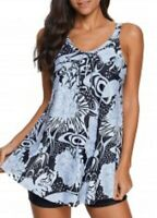Strappy Asymmetric Hem Flower Print Swimdress and Shorts