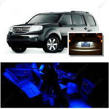 For Honda Pilot 2009-2016 Blue LED Interior Kit + Xenon White License Light LED
