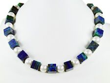 Beautiful Precious Stone Necklace in Azurite-Malachite Cubes with shell pearls