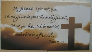 "Art Print On Canvas 12"" x 22"" - John 14:27 - My Peace I Give Unto You"