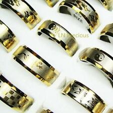 10pcs gold Pattern stainless steel rings wholesale jewelry Top  free shipping