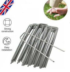Fabric Weed Galvanised Staples Garden Turf Pins Securing Pegs U Artificial Grass