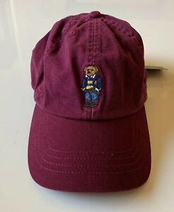 Polo Ralph Lauren Teddy Bear Unisex Kids Baseball Cap Hat in Maroon One Size 4-7