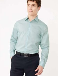 M&S Marks Spencer Men Slim Fit Cotton Shirt with Stretch Mint Green BNWT