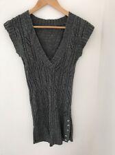 Knit Dress Size Small Grey Glitter Sleeveless <JJ193