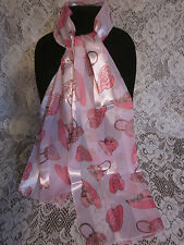 "PINK HATS & PURSES on LILAC Background Extra Long NECK SCARF 59""x13"" NEW w/o tag"