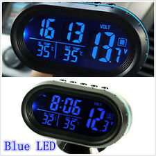 Blue LED Backlight Autos Inside Outside Thermometer Clock Voltage Current Meter