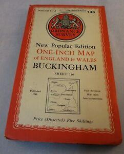 Vintage Retro Ordnance Survey Map - Buckingham  - 1 inch - No 146  - 1952