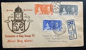 1937 Belize British Honduras First day cover Coronation King George VI KGVI