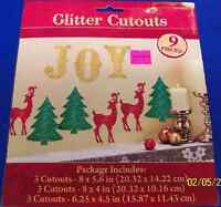 Glitter Joy Reindeer Tree Winter Christmas Holiday Party Decoration Cutouts