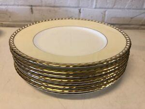 "Vintage Minton ""Commodore"" Set of 8 Embossed Cream Dinner Plates"