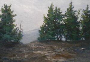 Mountain Top 5x7 original oil painting - Celene Farris Maine. cliff, trees, fog