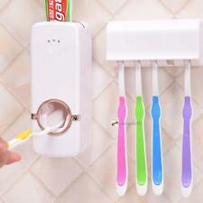 AUTOMATIC TOOTHPASTE DISPENSER AND 5 TOOTHBRUSH HOLDER SET WALL MOUNT RACK DH