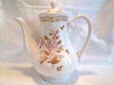 vintage wicker rose goldish pink floral coffee pot
