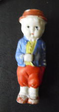 "Vintage 1920s Japan Bisque Boy with Hat Doll or Figurine 3 5/8"" Tall"