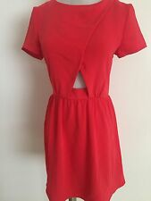 NEW TOPSHOP RED CAP SLEEVE CUT OUT DETAIL SKATER DRESS SIZE UK 8