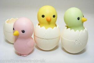Novelty Japanese IWAKO Animal Puzzle Eraser Rubbers - IWAKO Chick In Egg Erasers