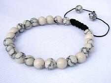 Gemstone Men's Shamballa bracelet all 8mm WHITE/CREAM TURQUOISE beads