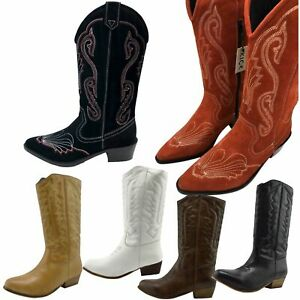 Ladies Womens Cowboy Boots Winter Fashion Biker Knee High Riding Punk Shoes Size