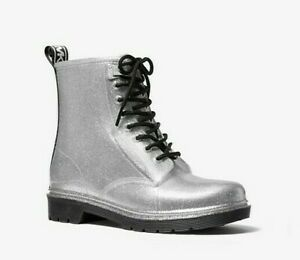 BRAND NEW MICHAEL By MICHAEL KORS Size 10 Shiny Sliver Plastic Fabric Rain Boots