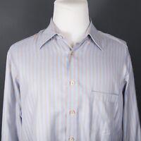 Ermenegildo Zegna Blue/Brown Herringbone Striped Button Down Shirt XL