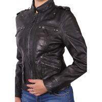 Brandslock Ladies Genuine Leather Biker Jacket Vintage Rock