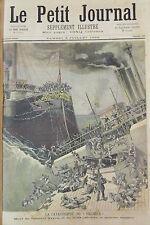 NAVIRE CATASTROPHE PAQUEBOT ANGLAIS  VICTORIA  GRAVURE PETIT JOURNAL 1893