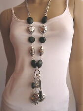 Modekette lang Damen Halskette Bettelkette Silber Schwarz Elefant Herz Charms e8