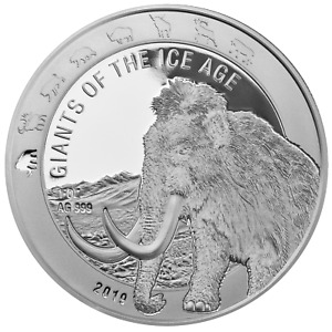 5 Cedis Giants of The Ice Age Wooly Mammoth Woolly Ghana 1 OZ Silver 2019