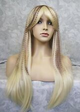 Long Straight Blonde w/Brown Feathered Streaks Full Synthetic Party Wig - COS14