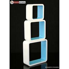 Cube Design Retro Wandregal CD Regal blau Bücherregal Cubes Würfel 3 er Set
