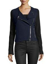 Catherine Malandrino Colorblock Ponte Moto Jacket, Dark Navy/Black XS