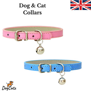 Dog Collar Bell, Pet Cat Puppy Collars, XS S M, Girl Boy, PU Leather, Strong, UK