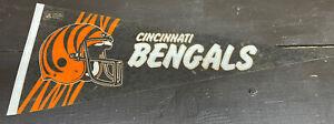 "Vintage 1980's Cincinnati Bengals NFL Team Felt Pennant Banner Flag 12""x 29"""