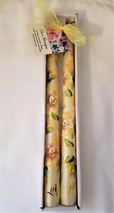 """Tapered Candle Sticks Yellow Roses Hand Painted 10"""" Set Of 2"""