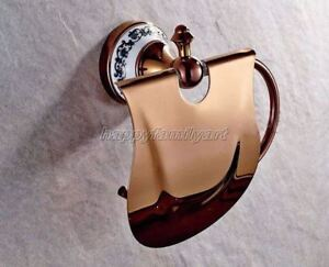 Rose Gold Copper Ceramic Base Wall Mounted Bathroom Toilet Paper Holder yba385