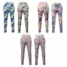 Unbranded Floral Full Length Cotton Blend Leggings for Women