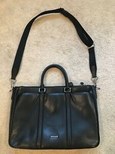 Coach Perry Metropolitan Black Grain Leather Crossbody Briefcase    F59141