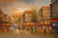 Art Oil painting impressionism landscape Paris Street Scene in sunset & carriage