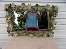 Nice Heavy Metal Floral Mirror 24 1/2 by 16 1/2 Inches