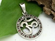 OM AUM ARGENTO 925 ciondolo amuleto con zirconia Esoterismo Buddismo cinturino