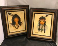 2 Original OIL Paintings Girls Signed JENKINS (Fran) Native Feathers Old