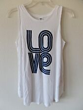 Old Navy Womens XS White High Neck Scoop Tank Retro LOVE Pattern New