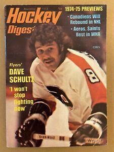 1974 Hockey Digest PHILADELPHIA FLYERS Dave SCHULTZ No Label NHL WHA Preview