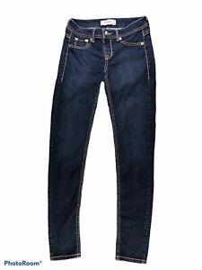 Fragile Blue Jeans Skinny Stretch Dark Wash Womens Juniors Size Small