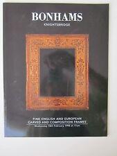 BONHANS English & European FRAMES  & OLD MASTER PAINTINGS & DRAWINGS 2/1998 Sale