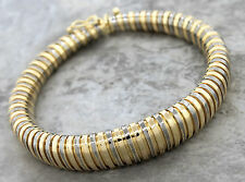 Ladies Vintage Italian 14K 585 Two Tone Yellow White Gold Tubogas Bracelet